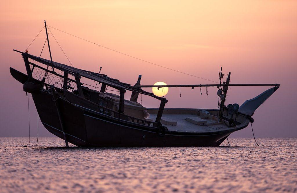 غروب خورشید در جزیره مصیره عمان